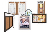 Wide-Ranging  Exterior Display Cases, Enclosed Bulletin Boards, Outdoor Letter Boards Restaurant Menu Case Displays and illuminated Cabinets