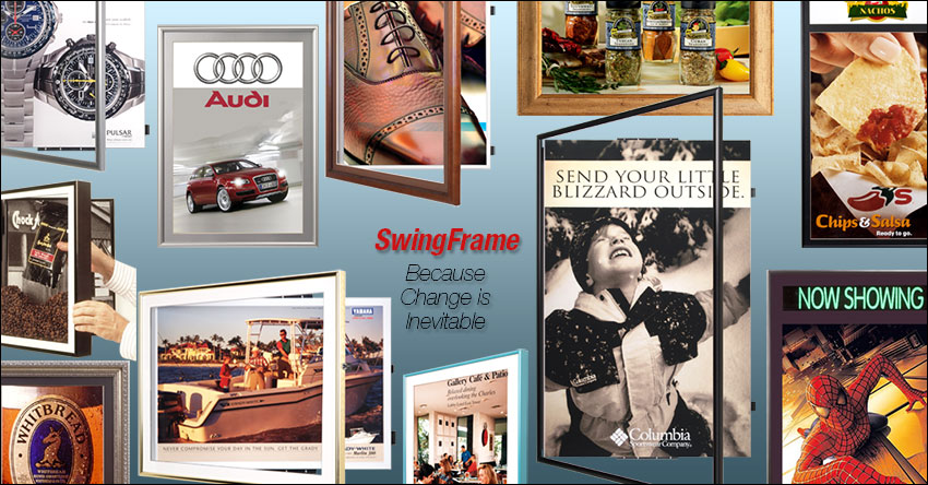 SwingFrame Designs and Manufacturers Quick Change, Swing Open Frames and Displays, Including Poster Displays, Signage Frames, Shadow Boxes Display Cases and Numerous Other Display Frames and Display Boards.