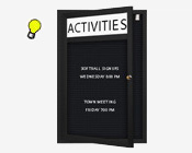 Wall Mount Outdoor Letter Board Swing Cases with Header & Interior Lighting